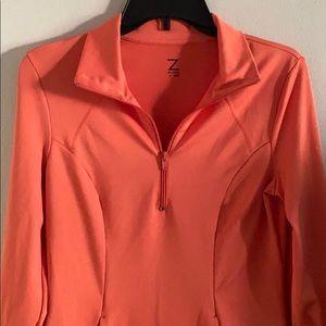 Zella Orange Half Zip Pullover, Size S.